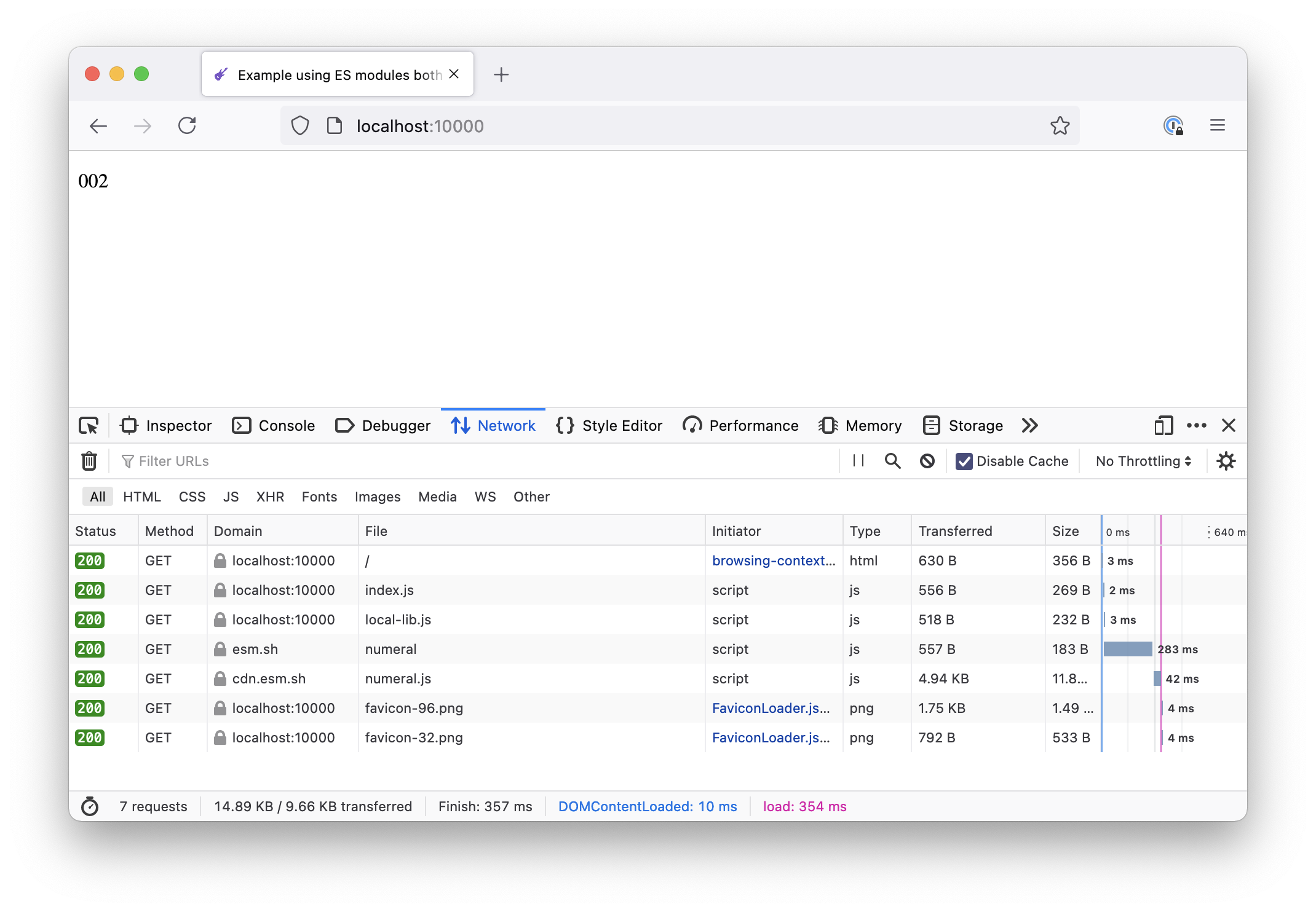 Screenshot of the Network panel in Firefox showing all the different resources loaded from various places
