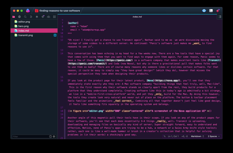 A screenshot of the Nova application UI