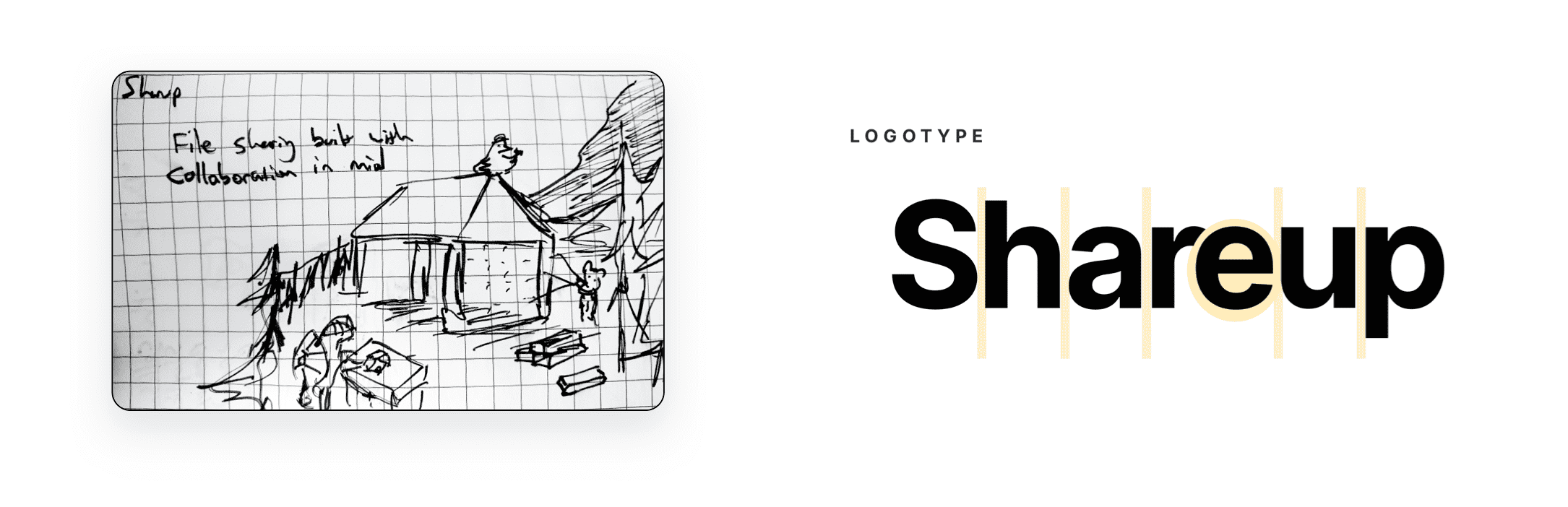 Image of a sketch of the homepage illustration and a spacing guide for the Shareup logotype