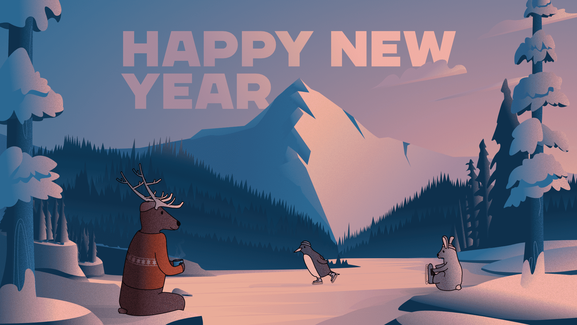 Image of a mountain and some trees with characters ice skating and relaxing.