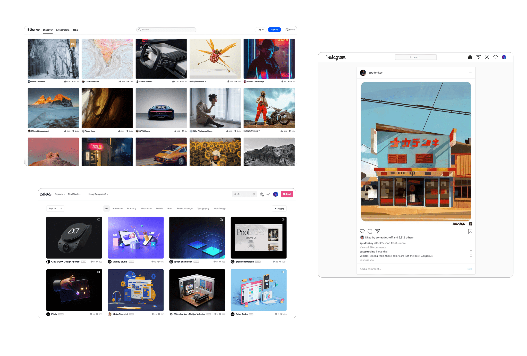 Collection of inspiration examples like behance, dribbble and instagram