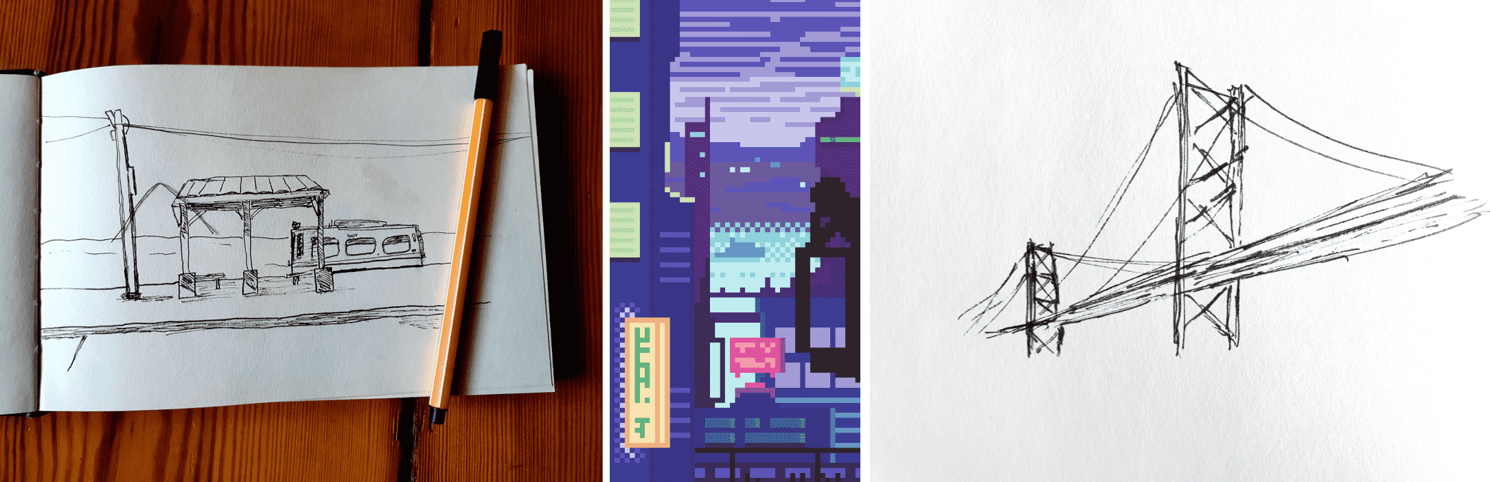 Small group of sketches and a pixel art piece