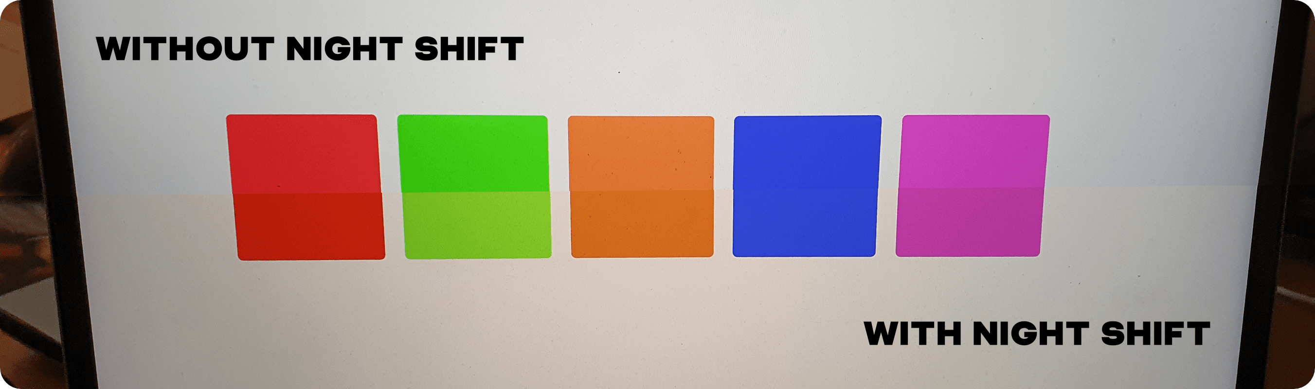 A comparison of colors with Night Shift on and off