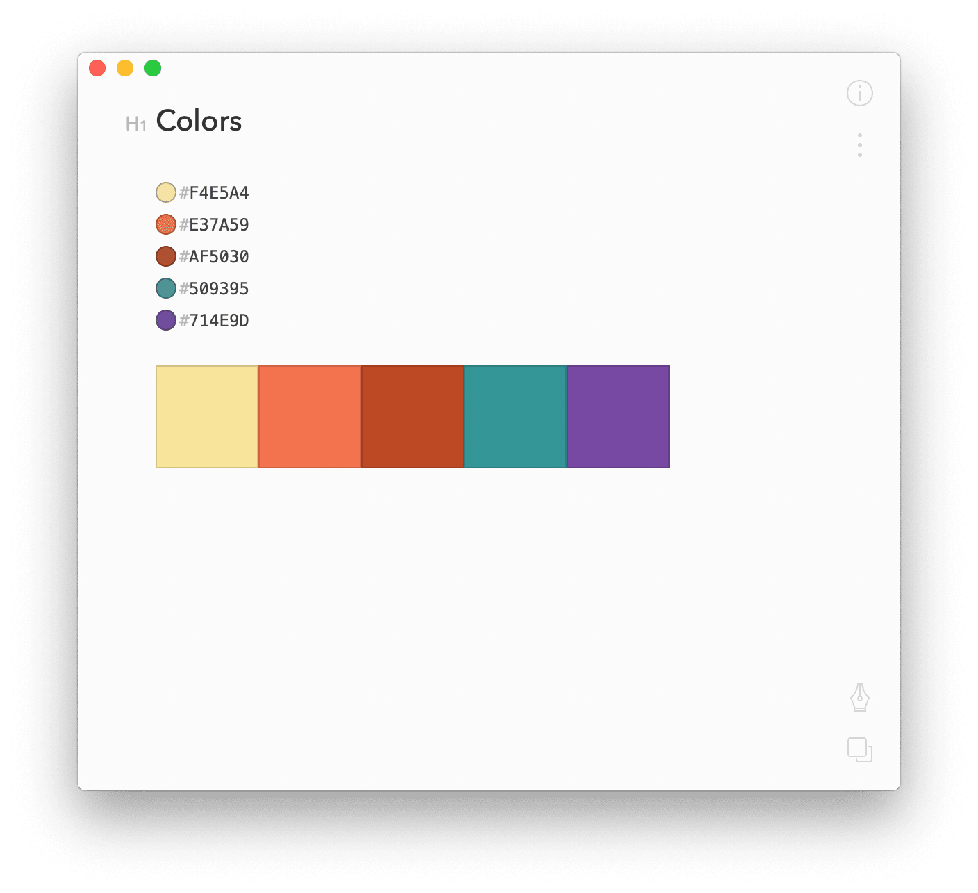 Example of a color palette