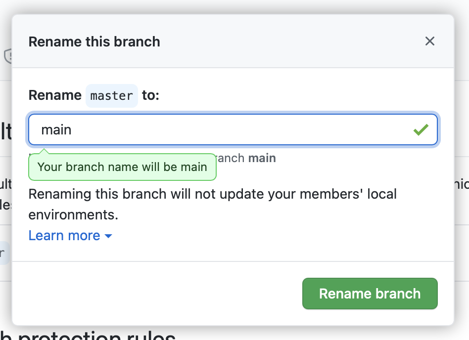Screenshot of GitHub showing that a branch will be renamed to main.