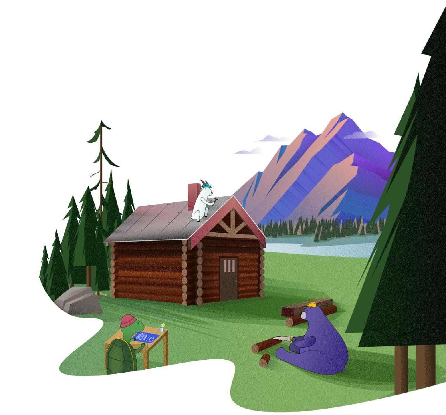 The Shareup hero image of a cabin by a mountain and river being built by a turtle, a goat and a bear
