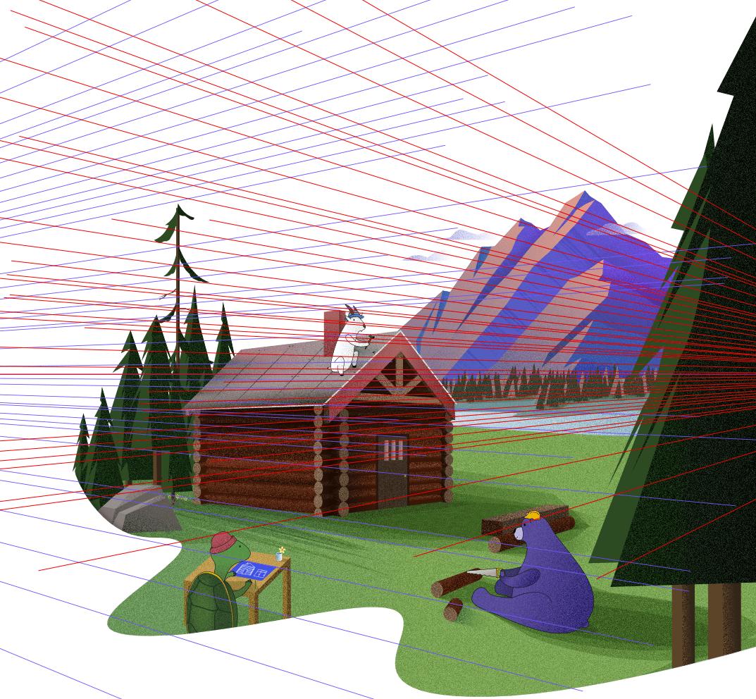 The Shareup hero image of a cabin by a mountain and river being built by a turtle, a goat, and a bear with perspective guide lines visible