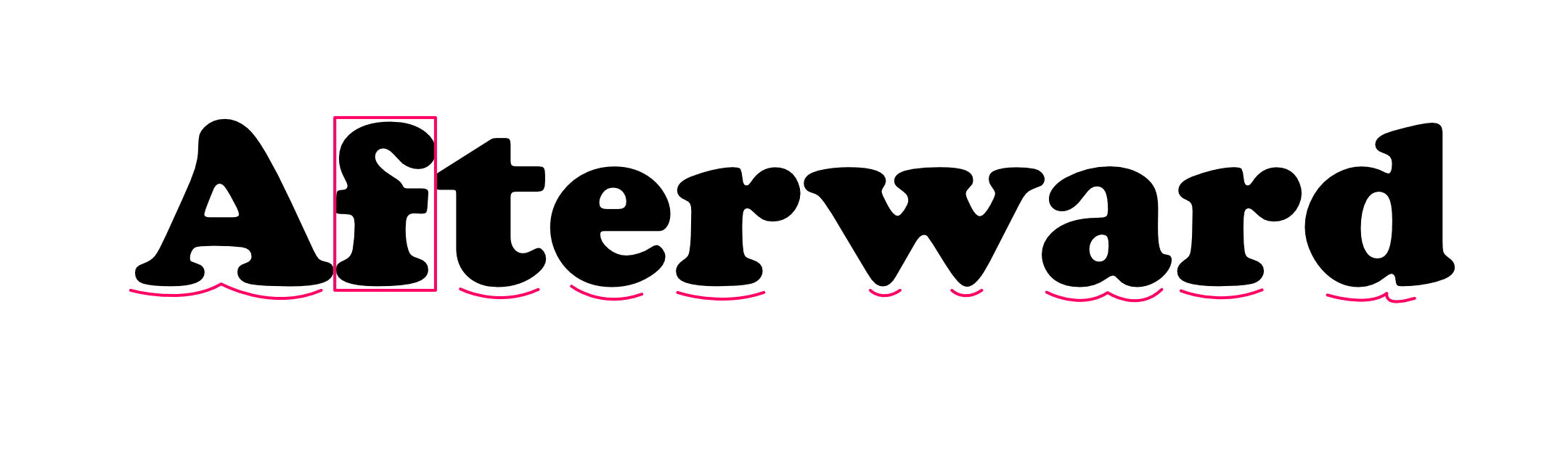 The word 'Afterward' but with the curves and the 'f' highlighted